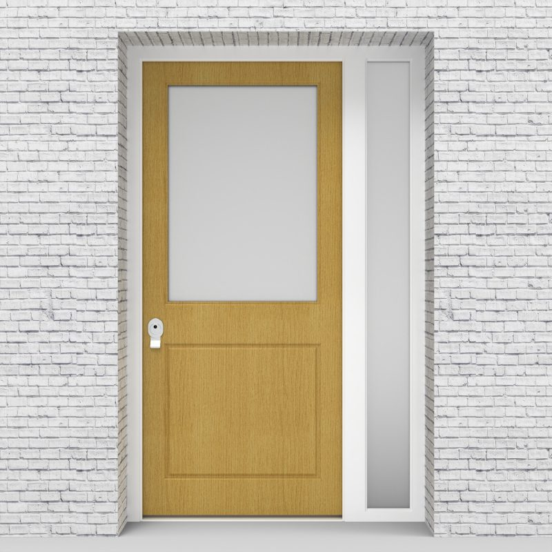 1.single Door With Right Side Panel 2 Panel With A Large Glass Pane Birch