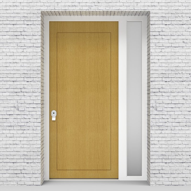 1.single Door With Right Side Panel Plain With Lock Side Glass Birch