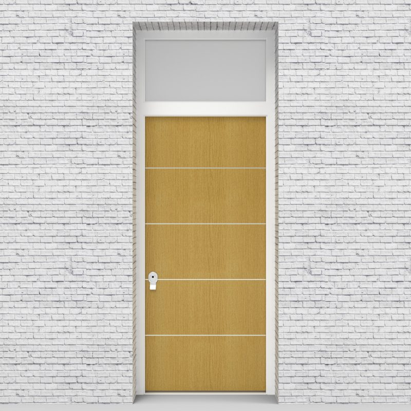 1.single Door With Transom 4 Aluminium Inlays Birch
