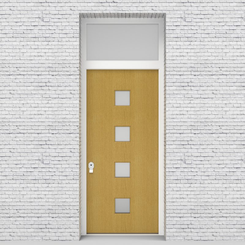 1.single Door With Transom Plain With 4 Glass Squares Birch