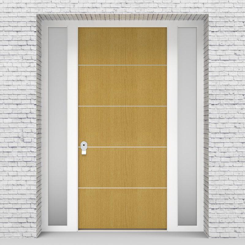 1.single Door With Two Side Panels 4 Aluminium Inlays Birch