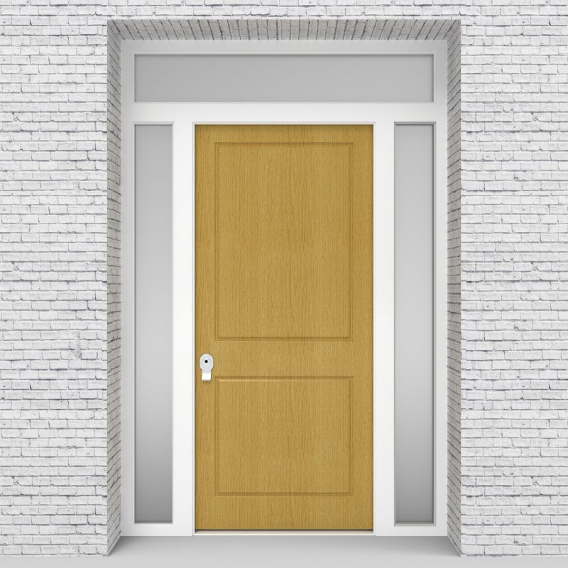 1.single Door With Two Side Panels And Transom Two Panel Birch