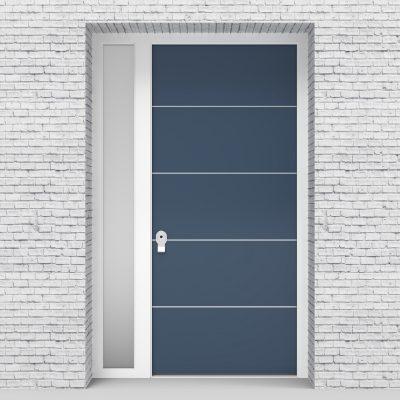 10.single Door With Left Side Panel 4 Aluminium Inlays Pigeon Blue (ral5014)