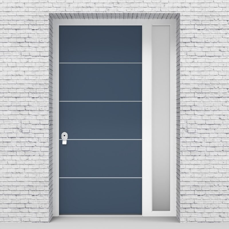 10.single Door With Right Side Panel 4 Aluminium Inlays Pigeon Blue (ral5014)