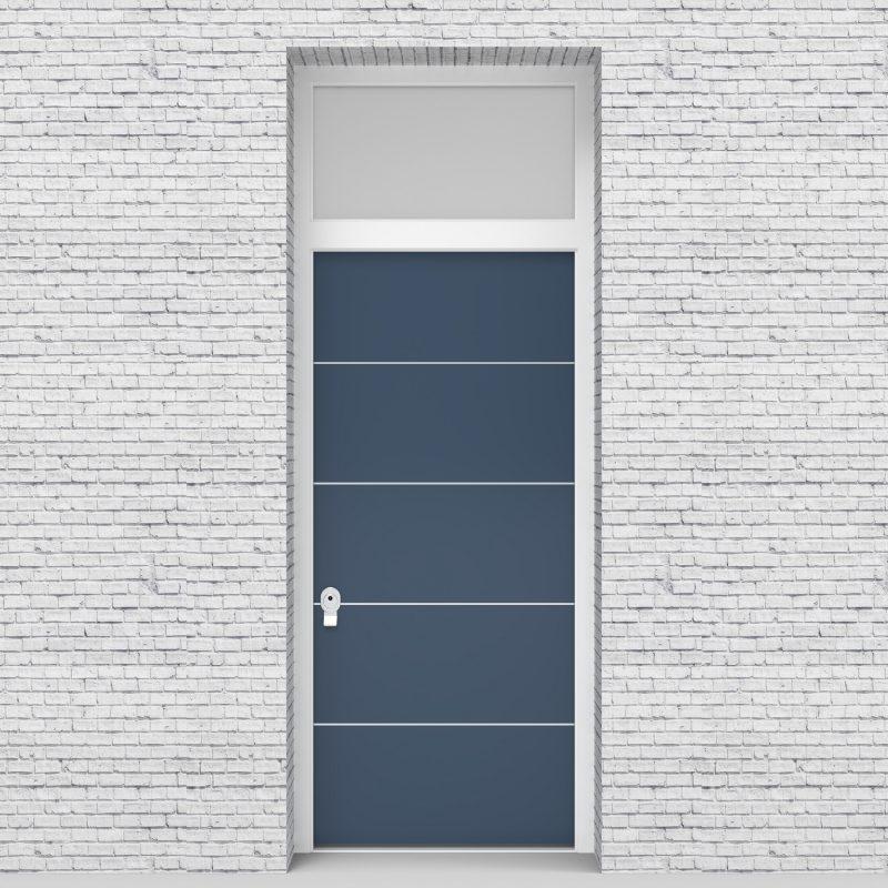 10.single Door With Transom 4 Aluminium Inlays Pigeon Blue (ral5014)