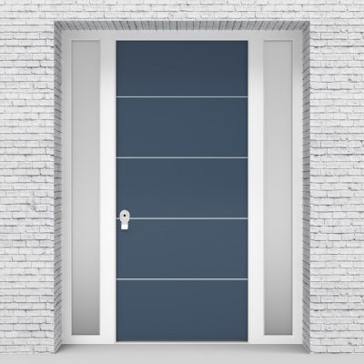10.single Door With Two Side Panels 4 Aluminium Inlays Pigeon Blue (ral5014)