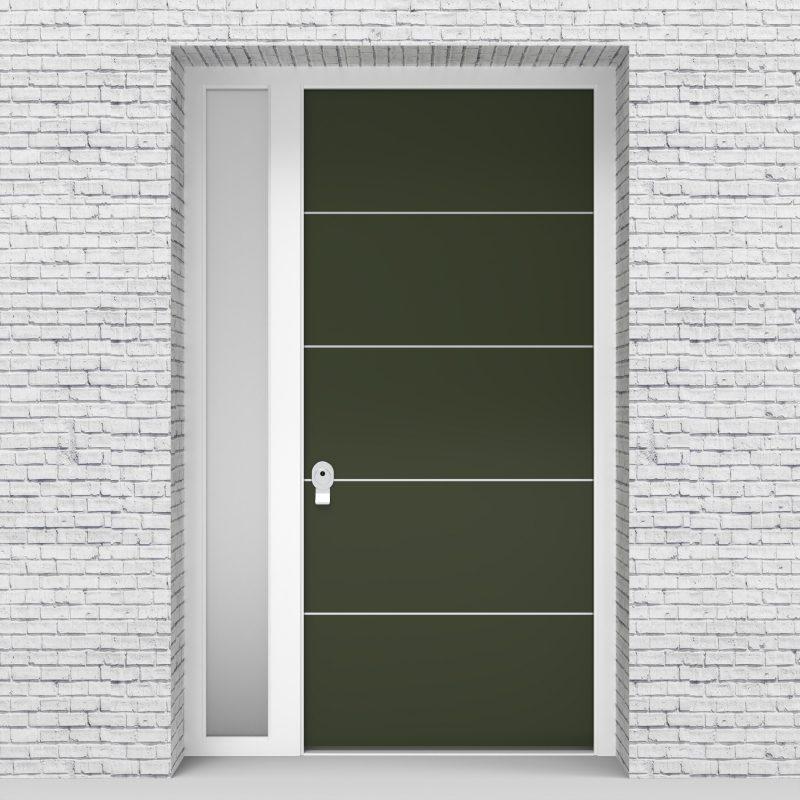 11.single Door With Left Side Panel 4 Aluminium Inlays Fir Green (ral6009)