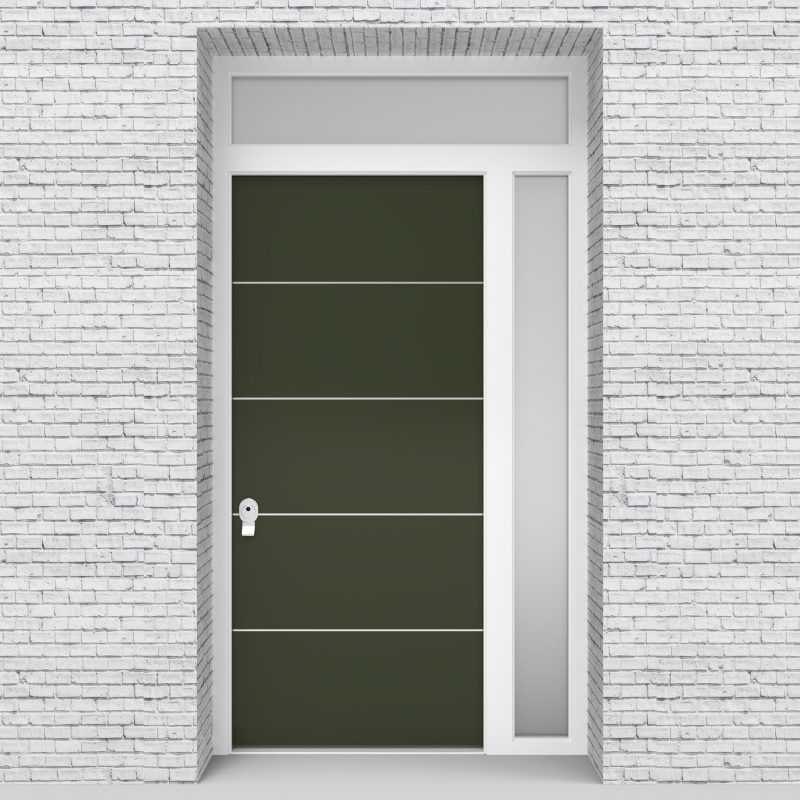 11.single Door With Right Side Panel And Transom 4 Aluminium Inlays Fir Green (ral6009)