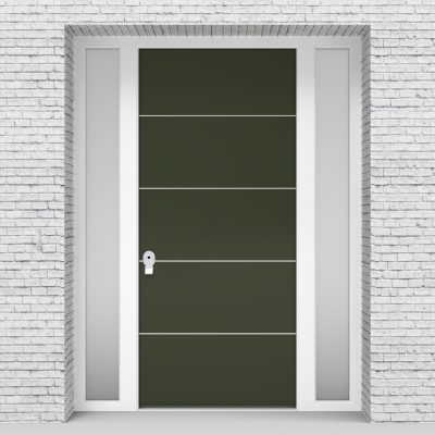 11.single Door With Two Side Panels 4 Aluminium Inlays Fir Green (ral6009)