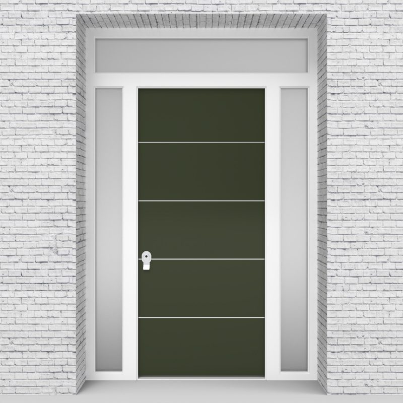 11.single Door With Two Side Panels And Transom 4 Aluminium Inlays Fir Green (ral6009)