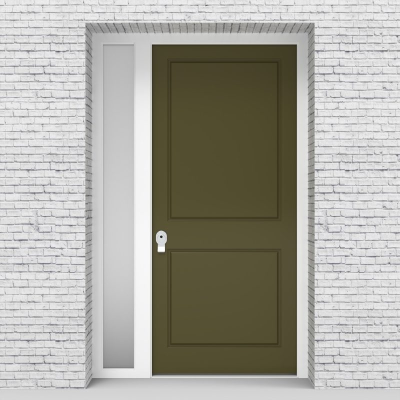 12.single Door With Left Side Panel Two Panel Reed Green (ral6013)