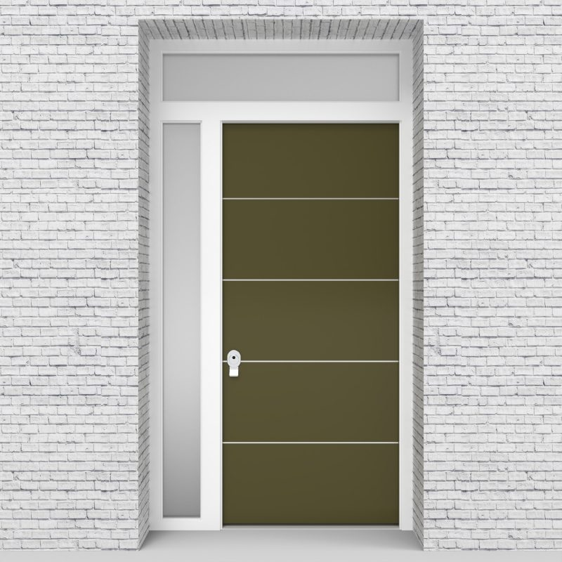 12.single Door With Left Side Panel And Transom 4 Aluminium Inlays Reed Green (ral6013)