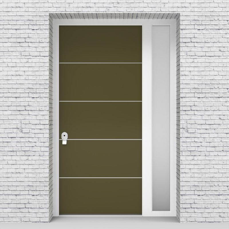 12.single Door With Right Side Panel 4 Aluminium Inlays Reed Green (ral6013)