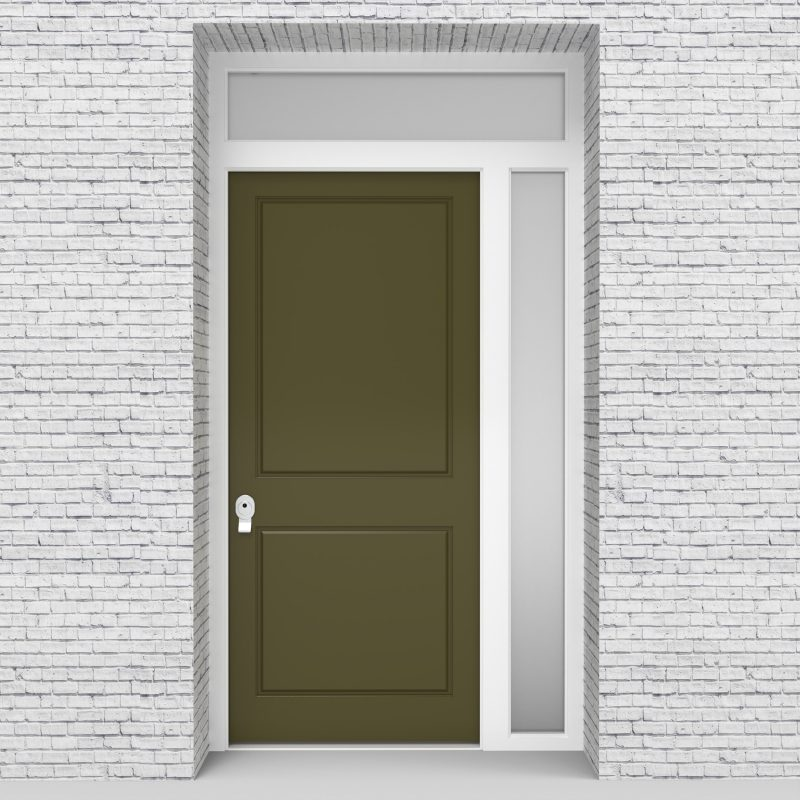 12.single Door With Right Side Panel And Transom Two Panel Reed Green (ral6013)