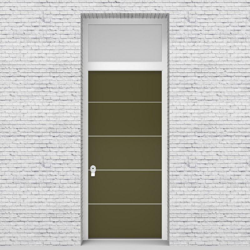 12.single Door With Transom 4 Aluminium Inlays Reed Green (ral6013)