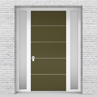 12.single Door With Two Side Panels 4 Aluminium Inlays Reed Green (ral6013)