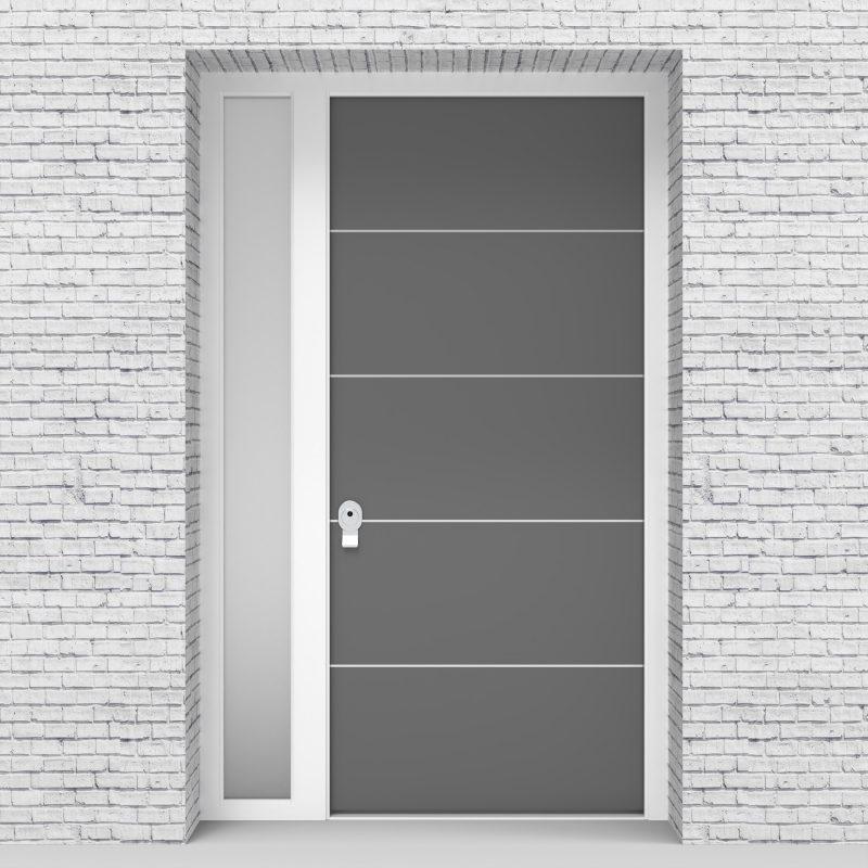 13.single Door With Left Side Panel 4 Aluminium Inlays Signal Grey (ral7004)