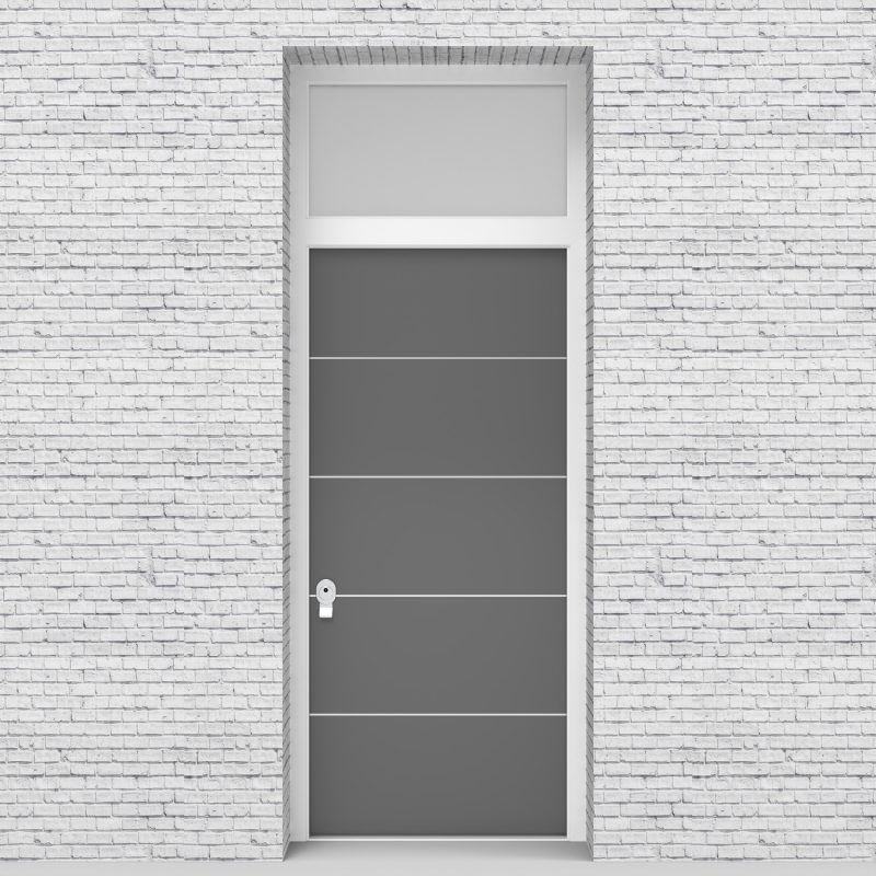 13.single Door With Transom 4 Aluminium Inlays Signal Grey (ral7004)