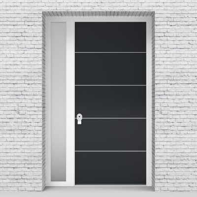14.single Door With Left Side Panel 4 Aluminium Inlays Anthracite Grey (ral7016)