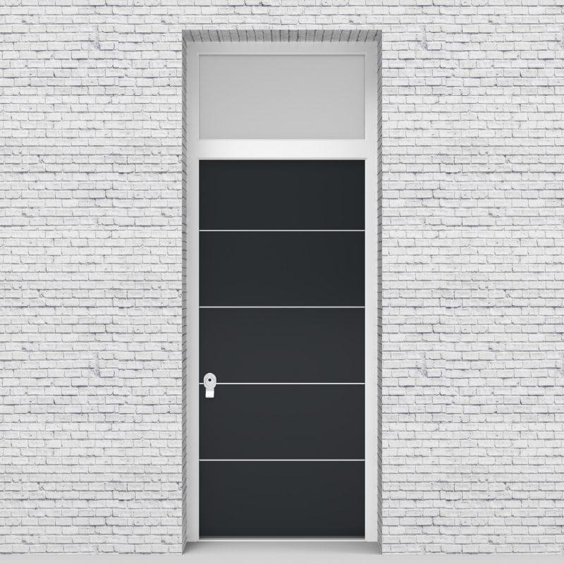 14.single Door With Transom 4 Aluminium Inlays Anthracite Grey (ral7016)