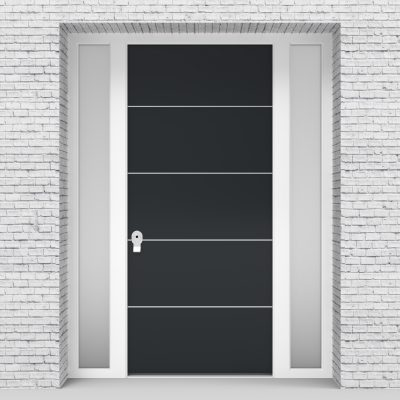 14.single Door With Two Side Panels 4 Aluminium Inlays Anthracite Grey (ral7016)