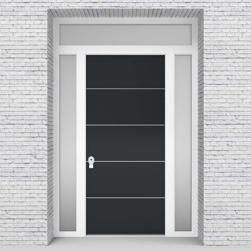 14.single Door With Two Side Panels And Transom 4 Aluminium Inlays Anthracite Grey (ral7016)