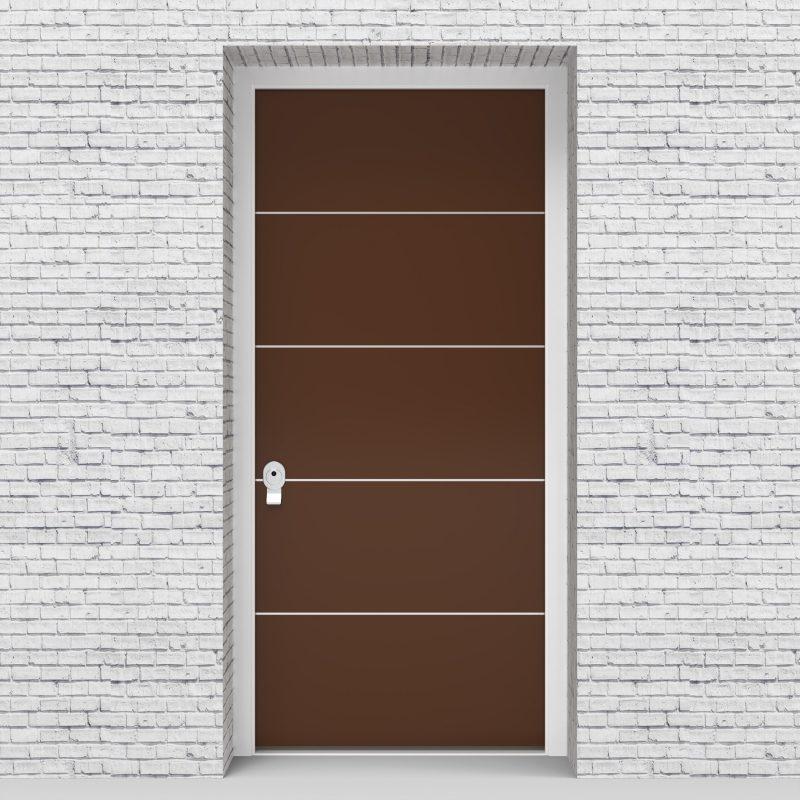 15.single Door 4 Aluminium Inlays Clay Brown (ral8003)