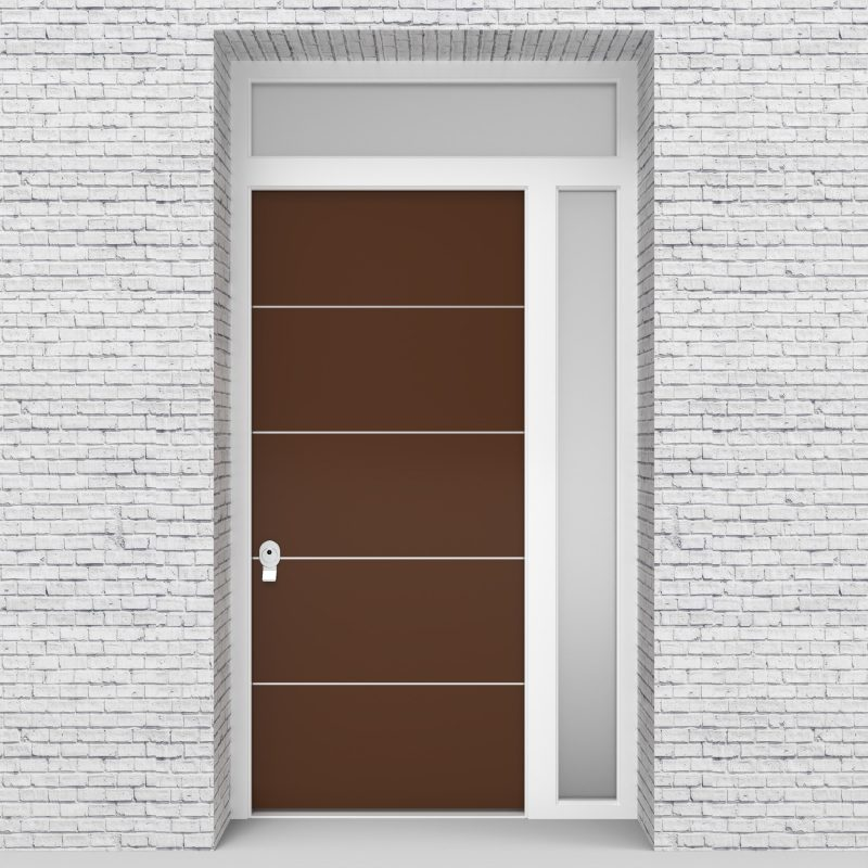 15.single Door With Right Side Panel And Transom 4 Aluminium Inlays Clay Brown (ral8003)