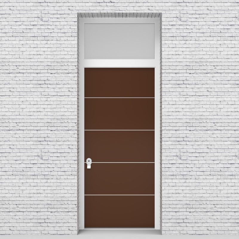 15.single Door With Transom 4 Aluminium Inlays Clay Brown (ral8003)