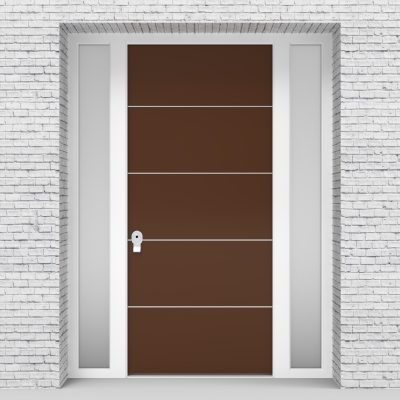 15.single Door With Two Side Panels 4 Aluminium Inlays Clay Brown (ral8003)
