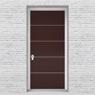 16.single Door 4 Aluminium Inlays Chocolate Brown (ral8017)