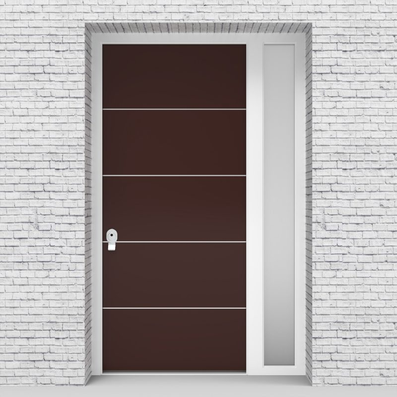 16.single Door With Right Side Panel 4 Aluminium Inlays Chocolate Brown (ral8017)
