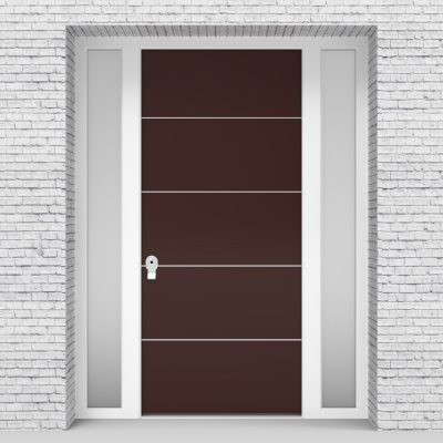 16.single Door With Two Side Panels 4 Aluminium Inlays Chocolate Brown (ral8017)