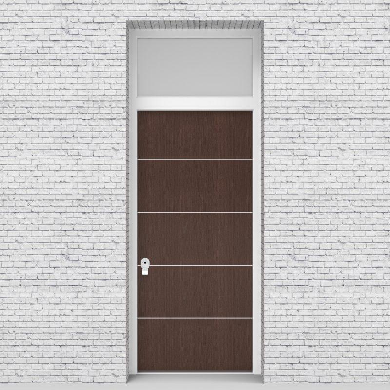 2.single Door With Transom 4 Aluminium Inlays Dark Oak