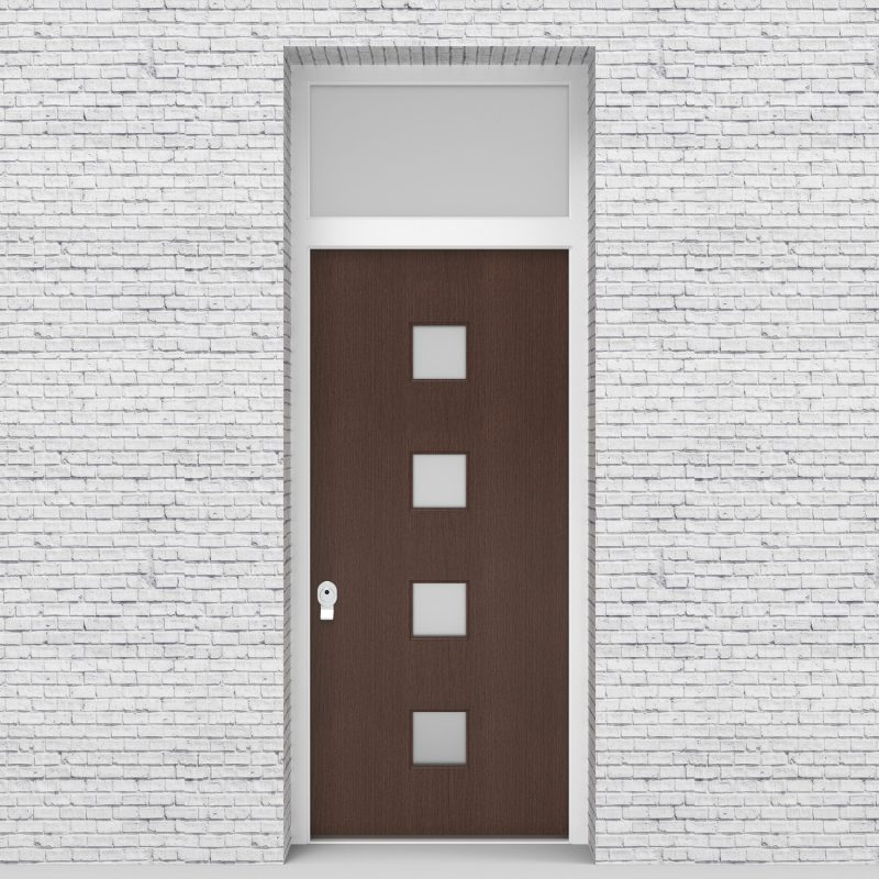 2.single Door With Transom Plain With 4 Glass Squares Dark Oak
