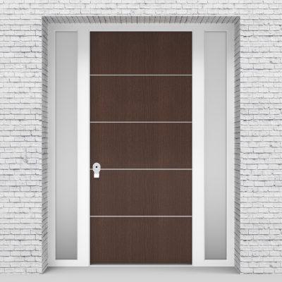 2.single Door With Two Side Panels 4 Aluminium Inlays Dark Oak
