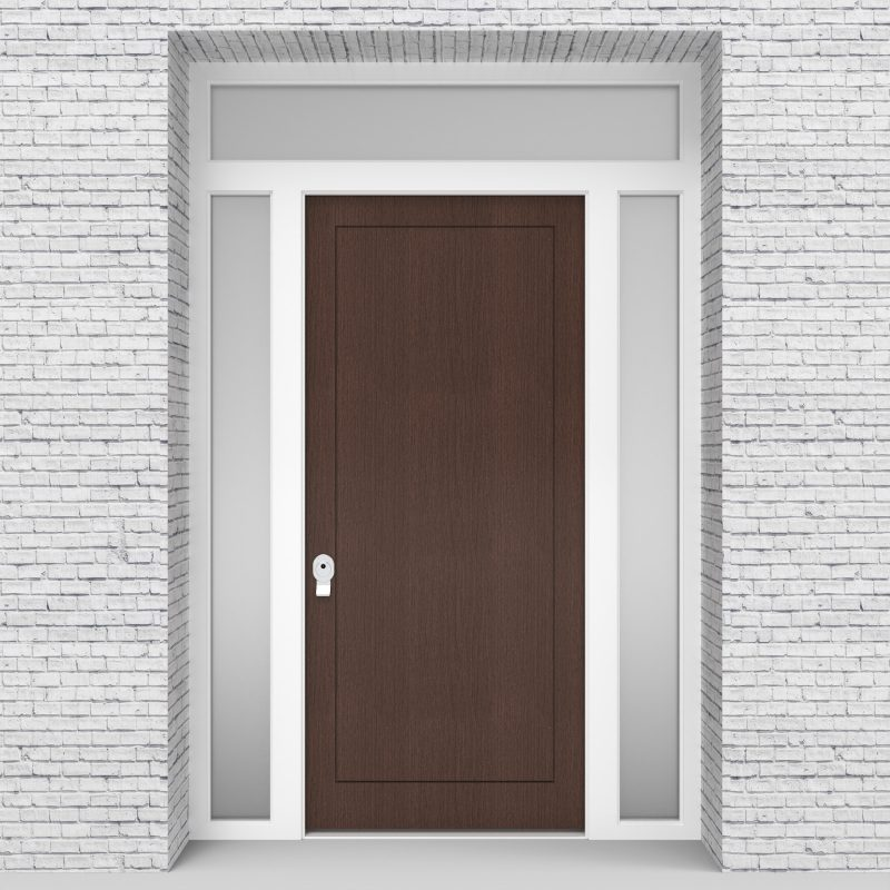 2.single Door With Two Side Panels And Transom One Panel Dark Oak