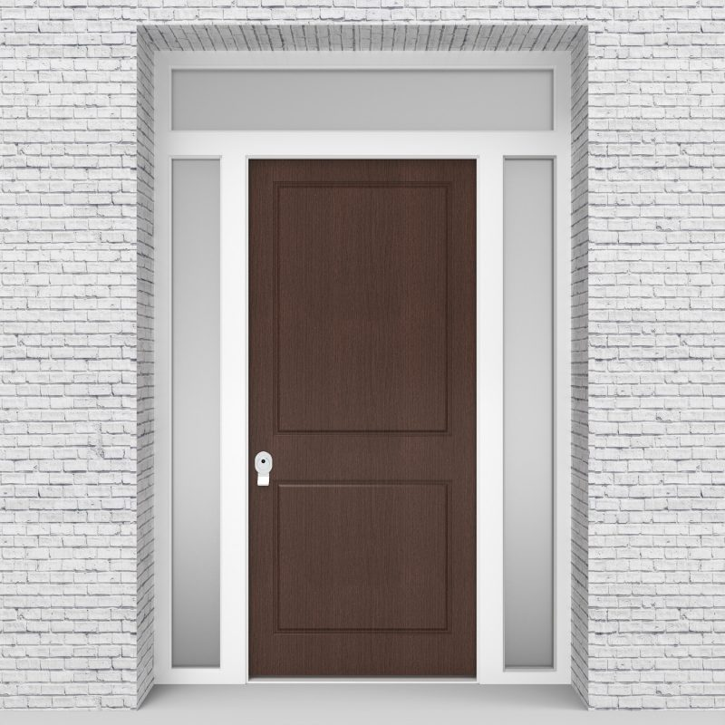 2.single Door With Two Side Panels And Transom Two Panel Dark Oak