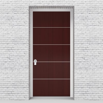 3.single Door 4 Aluminium Inlays Mahogany