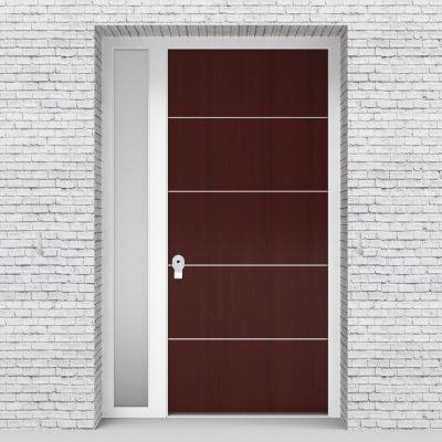 3.single Door With Left Side Panel 4 Aluminium Inlays Mahogany