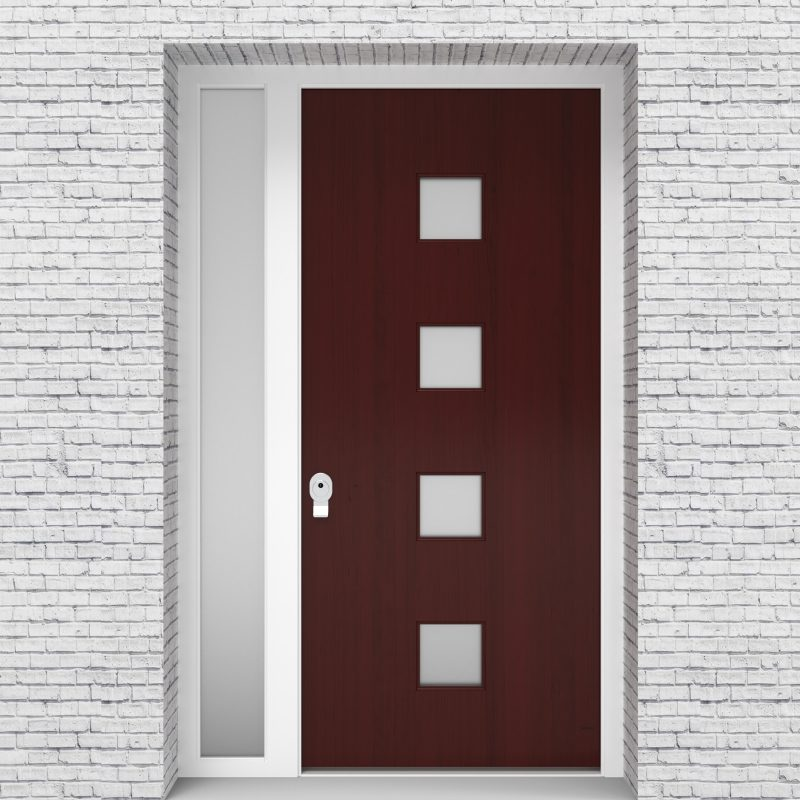 3.single Door With Left Side Panel Plain With 4 Glass Squares Mahogany