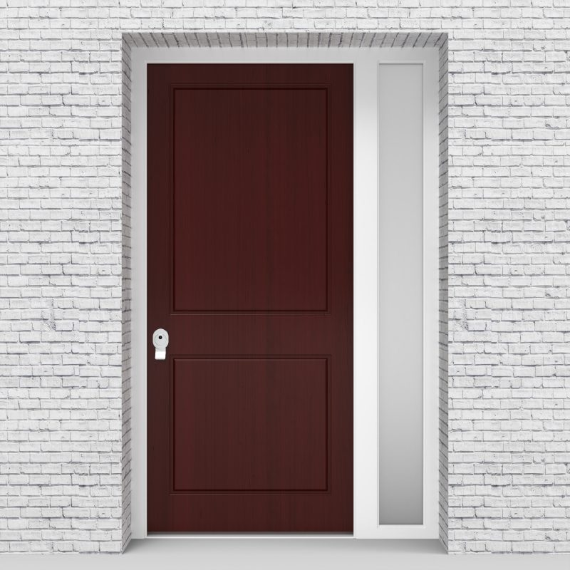 3.single Door With Right Side Panel Plain With Lock Side Glass Mahogany