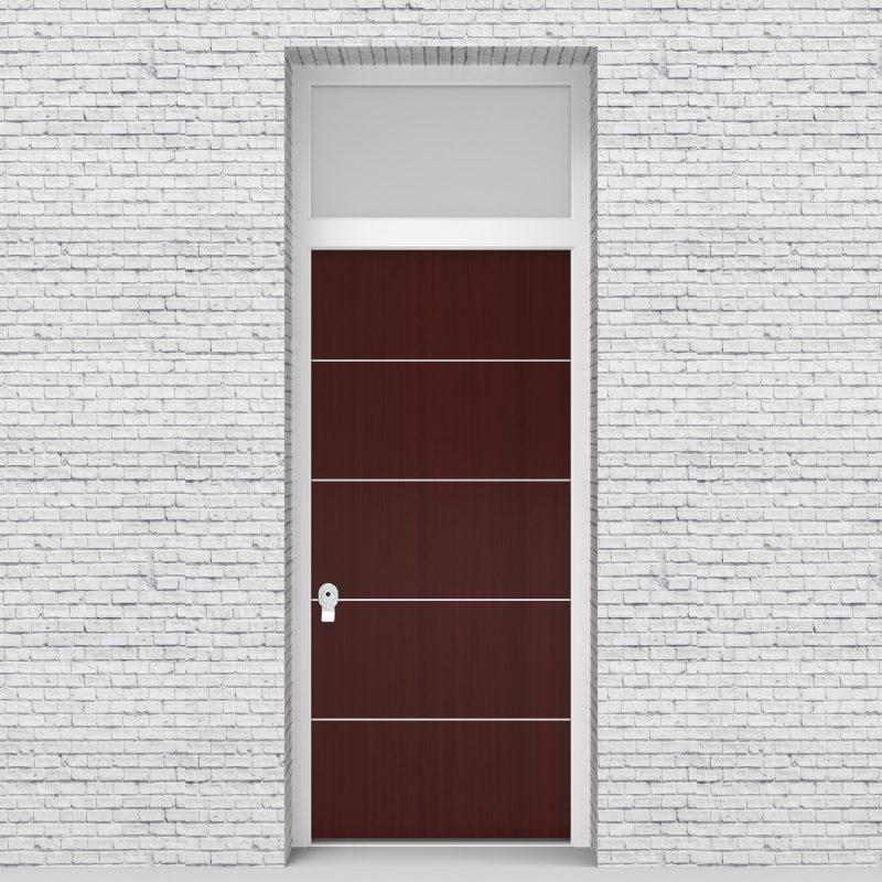 3.single Door With Transom 4 Aluminium Inlays Mahogany