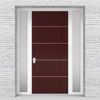 3.single Door With Two Side Panels 4 Aluminium Inlays Mahogany