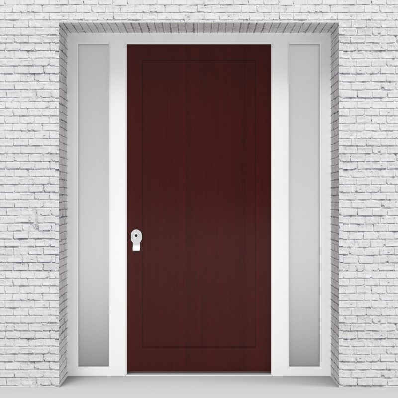 3.single Door With Two Side Panels One Panel Mahogany