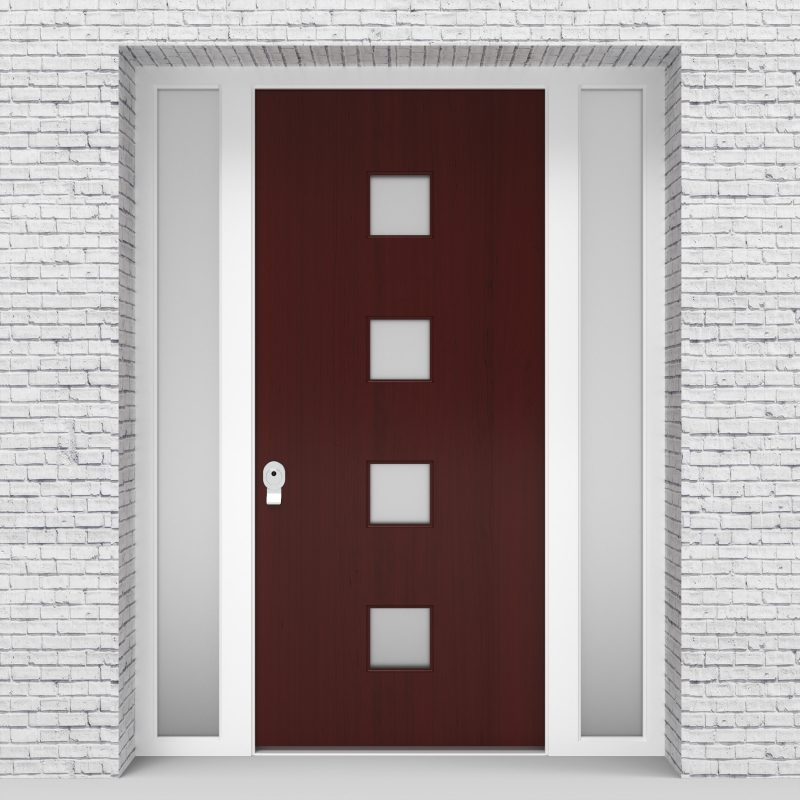 3.single Door With Two Side Panels Plain With 4 Glass Squares Mahogany