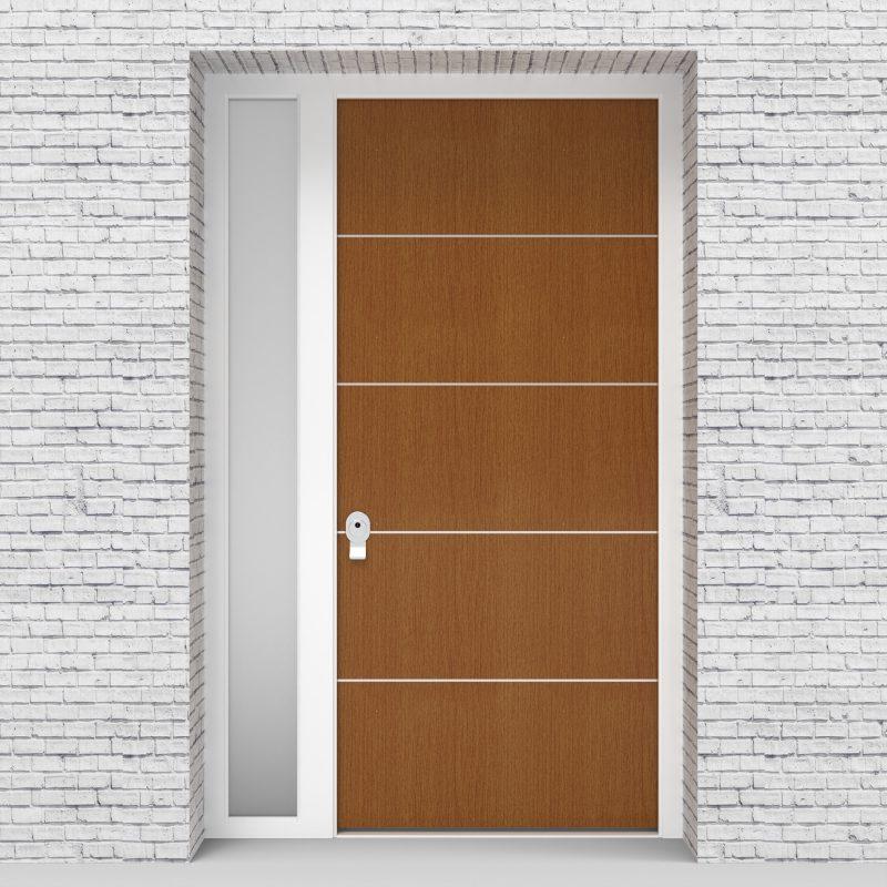 4.single Door With Left Side Panel 4 Aluminium Inlays Oak