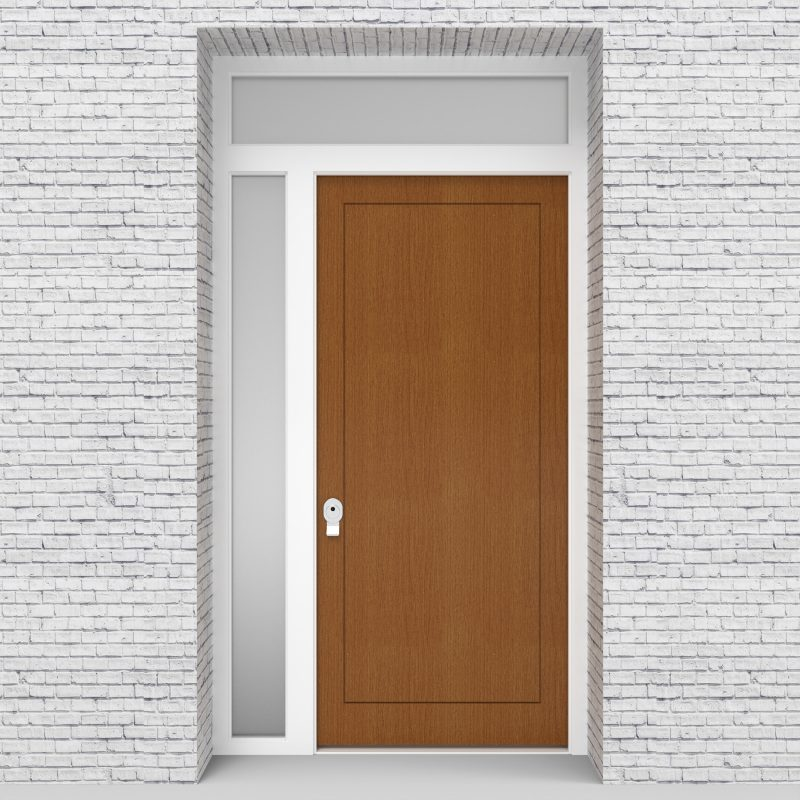 4.single Door With Left Side Panel And Transom One Panel Oak