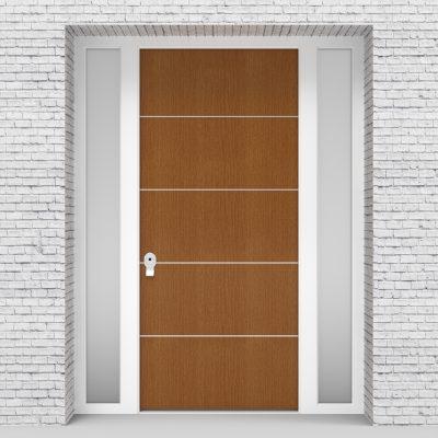 4.single Door With Two Side Panels 4 Aluminium Inlays Oak