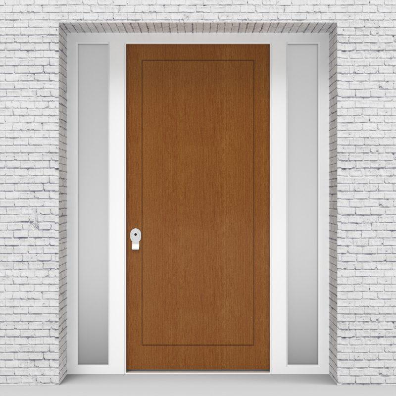4.single Door With Two Side Panels One Panel Oak